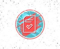Überprüfte Dokumentenlinie Ikone Dateizeichen Stockbild