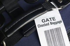 Überprüftes Gepäck der Fluglinie Gatter. Stockbilder