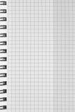 Überprüftes Hintergrundmuster des gewundenen Notizbuches, vertikaler karierter quadratischer offener Notizblockkopienraum, geheft Stockbild