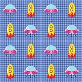 Überprüftes Muster mit Raumschiffen Lizenzfreie Stockbilder