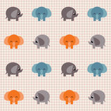 Überprüftes Retro- Muster mit kleinen netten Elefanten Stockbilder