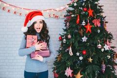 Überraschen Sie junge Schönheit mit Geschenken nahe einem Weihnachtsbaum Neues Jahr Stockfotos