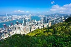 Überraschende Ansicht von Victoria-Hafen von der Spitze, Hong Kong lizenzfreies stockfoto