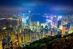 Überraschende Ansicht von Victoria-Hafen von der Spitze, Hong Kong lizenzfreie stockfotografie