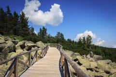 Überraschende Ansicht von Zlatnite Mostove u. x27; Goldenes Bridges& x27; - Steinfluß in Vitosha-Berg, Bulgarien lizenzfreies stockbild