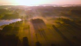 Überraschende nebelige Szene von hellen Strahlen über Feldern stock video