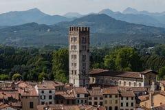 Überraschende rote Dachspitzen von Lucca bei Toskana in Italien lizenzfreie stockfotos