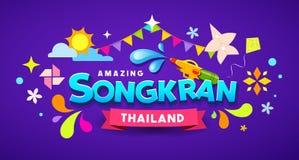 Überraschender bunter Entwurf der glücklichen Festival-Mitteilung Songkran Thailand lizenzfreie abbildung