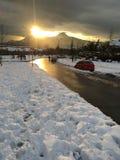 Überraschender Schnee stockbild