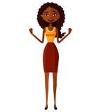 Überraschte Afroamerikanerfrau, die oben ihre Hände wirft Junge überzeugte Geschäftsdame, die etwas genehmigt Nettes Mädchen joyf Stockfotografie