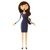Überraschte Bankerfrau Sprachloses Mädchen Erstaunter Lehrer Emotionaler Mädchen Charakter Vektor Stockfotografie