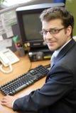 überraschte Berufsfunktion auf PC Lizenzfreies Stockfoto