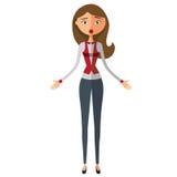 Überraschte blonde Geschäftsfrau Sprachlose Geschäftsfrau Erstaunter Lehrer Emotionaler Mädchen Charakter Vektor Stockfotografie