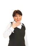 Überraschte fällige Frau, die oben schaut Lizenzfreies Stockbild