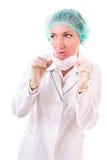 Überraschte Frau in der medizinischen Uniform Lizenzfreie Stockfotografie