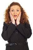 Überraschte Geschäftsfrau Stockbilder