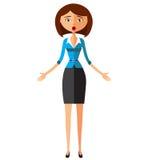 Überraschte Geschäftsfrau Emotionaler Mädchen Charakter Vektor Stockbilder