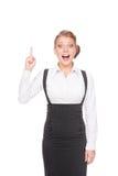 Überraschte Geschäftsfrau haben die Idee Stockbilder