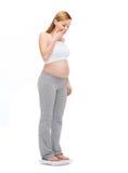 Überraschte Gewichtung der schwangeren Frau selbst Lizenzfreies Stockfoto