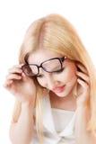 Überraschte junge blonde Frau Stockbilder