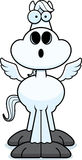 Überraschte Karikatur Pegasus Stockfoto