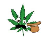 Überraschte Marihuanakarikatur Lizenzfreie Stockfotografie