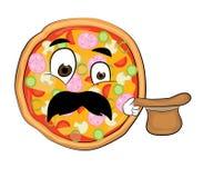 Überraschte Pizzakarikatur Stockfotografie