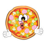 Überraschte Pizzakarikatur Stockbilder