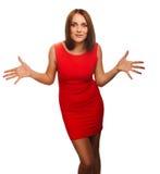 Überraschte schöne aufgeregte Brunettefrauenwürfe Lizenzfreies Stockfoto