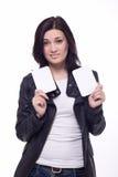 Überraschte schöne Brunetfrau Lizenzfreie Stockfotos
