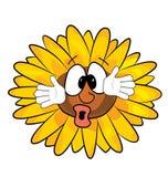 Überraschte Sonnenblumenkarikatur Stockfotografie