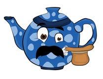 Überraschte Teekannenkarikatur Lizenzfreie Stockfotografie