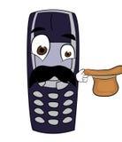 Überraschte Telefonkarikatur Stockbild