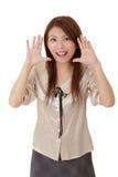 Überraschte und glückliche Geschäftsfrau Stockbilder