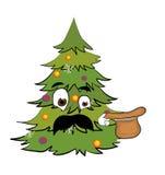 Überraschte Weihnachtsbaumkarikatur Lizenzfreie Stockfotos