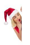 Überraschte Weihnachtsmitteilung Stockbild