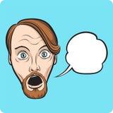 Überraschter bärtiger Mann mit Spracheluftblase vektor abbildung