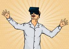 Überraschter Geschäftsmann in den Schutzbrillen der virtuellen Realität Stockbild
