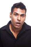 Überraschter indischer Mann stockfotos