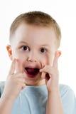 Überraschter Junge Stockfoto