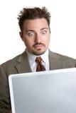 Überraschter Laptop-Mann stockbild