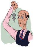 Überraschter Mann in einer Bindung, Griffe das Endstück einer Maus Lizenzfreies Stockfoto