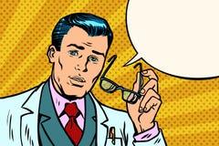Überraschter Manndoktor oder -wissenschaftler stock abbildung