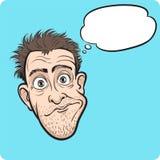 Überraschter verrückter Mann mit Spracheluftblase stock abbildung