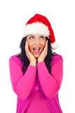 Überraschter Weihnachtsmann, der oben schaut Stockfotos