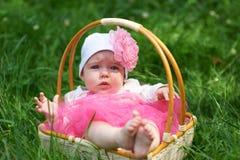 Überraschtes Baby in einem Weidenkorb Stockfoto