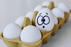 Überraschtes Ei in einem Kartonkasten lizenzfreie stockfotos