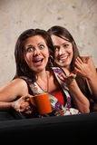 Überraschtes Frauen-Lachen Lizenzfreies Stockbild