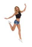 Überraschtes Frauen-Springen Stockfotografie