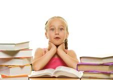 Überraschtes kleines Schulmädchen Lizenzfreie Stockfotografie